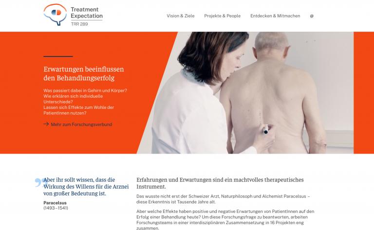 Screenshot of the SFB/TRR 289 website